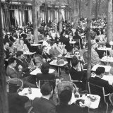 Parisians Dining Outdoors in Balmy Spring Weather