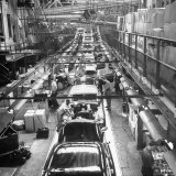 Buicks on the Assembly in Various Stages of Production in the Plant