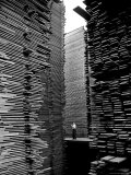 Man Standing in the Lumberyard of Seattle Cedar Lumber Manufacturing Aluminium par Alfred Eisenstaedt