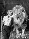 Lion Tamer Judy Allen  Standing Beside Her Beloved Lion Friend