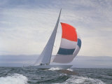 12-m Yacht Nefertiti  Designed by Ted Hood  Sailing Through Waves at Pre America's Cup Test Run