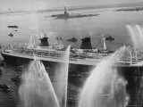 Fireboats Greeting the SS France  as It Enters the New York Harbor on Its Maiden Voyage