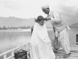 American Tourist  Young Danny Thomas Receiving Hair Cut on House Boat During Vacationing