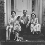 Senator Lyndon B Johnson with His Family on the Front Steps of Their Home