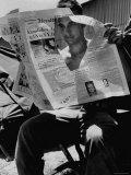 USMC Pfc Ronald M Clarke Attempting to Read Heavily Censored New York Herald Tribune in Lebanon