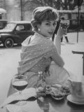 French Fashion Model Marie Helene Arnaud Sitting at a Cafe
