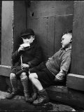 Two Boys Sitting on Doorstep