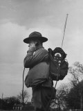 View of a Soldier Using a Backpack Radio