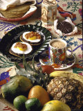 Traditional Mexican Breakfast: Fried Tortillas  Chocolate  Huevos Rancheros and Fresh Fruit