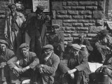 Rhondda Valley Miners Waiting For Their Bus