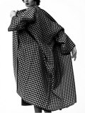 Model Dorian Leigh Wearing Harlequin Check Pattern in Tweed Coat by Trigere