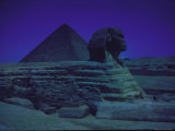 Sphinx and Great Pyramid at Giza  in Moonlight  Egypt