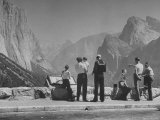 Tourists Looking at the Mountains in Yosemite Valley Park