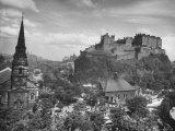 The Edinburgh Castle Sitting High on a Rock Above St Cuthbert's Church