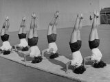 Teenage Girls from Hoover High School Standing on Their Heads in Gymnastics Class