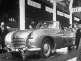 The British Triumph Roadster at the Paris Auto Show