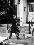 President Elect  John F Kennedy  Taking a Walk with Daughter Caroline and Her Doll Carriage