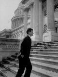 Senator Edward M Kennedy Walking Up Steps of Senate Wing