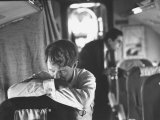 Thoughtful Senator Robert F Kennedy on Airplane During Campaign Trip to Aid Local Candidates