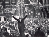 Richard Nixon Giving Victory Sign at Presidential Campaign Rally