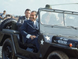 President Richard M Nixon Travelling in Us Army Jeep During Visit to Vietnam