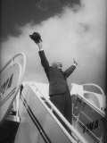 President Dwight D Eisenhower  During Arrival For Summit Conference
