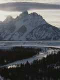 Grand Teton Mountain and the Snake River in Winter