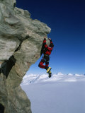 Mountain Climber Dangles from Rock on Pyramid Peak