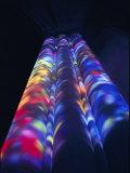 Bright Splashes of Color Illuminate a Pillar