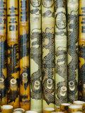 Close View of Bamboo Pipes Bearing Designs of Dragons