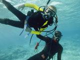 A Diver Teaches a Boy How to Dive