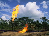 Flames from Oil Drilling Pipes