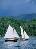 Sailboats and Darkening Sky  Lake Champlain  New York