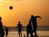 Soccer Game on Beach at Sunset  Zanzibar Town  Zanzibar Island  Zanzibar West  Tanzania