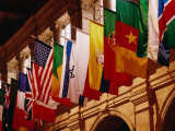 Flags on Publishing Society Building  Boston  Massachusetts  USA