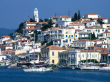 Waterfront and Town Behind Poros Harbour  Poros Town  Greece
