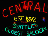 Neon Sign of Central Saloon  Seattle  Washington  USA