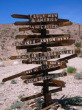 Sign Pointing in Many Directions  Mojave Desert  California  USA