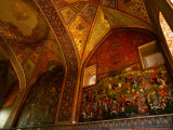 Intricate Frescoes in the Chehel Sotun Museum and Park  Esfahan  Iran