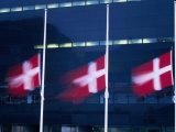 Danish Flags Flying Outside the Black Diamond Building  Copenhagen  Denmark