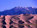 Sangre De Cristo Mountains Behind Dunes  Great Sand Dunes National Monument  USA
