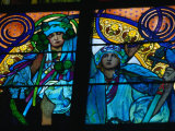 Stained-Glass Windows with Art Nouveau Mucha Designs in St Vitus Cathedral  Prague  Czech Republic