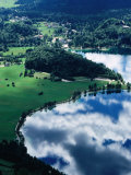 Cloud Reflecting in Eastern Lake Bohinj with Ribcev Laz in Background  Bohinj  Slovenia