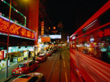 Wanchai Street at Night  Hong Kong  China