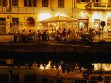 Restaurant along Canal Naviglio Grande  Milan  Italy
