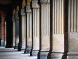 Pillars at Arcade Where Former City Wall Stood  Via Roma  Alba  Italy