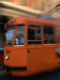 Orange Tram Moving  Naples  Italy