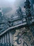 Heavy Fog Shrouds the Renaissance Stairway of the Roman Catholic Bom Jesus of Braga  Portugal