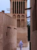 Man Walking in Lanes of Bastikia Quarter  Dubai  United Arab Emirates