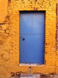 Blue Door on Yellow Brick House  Milas  Mugla  Turkey